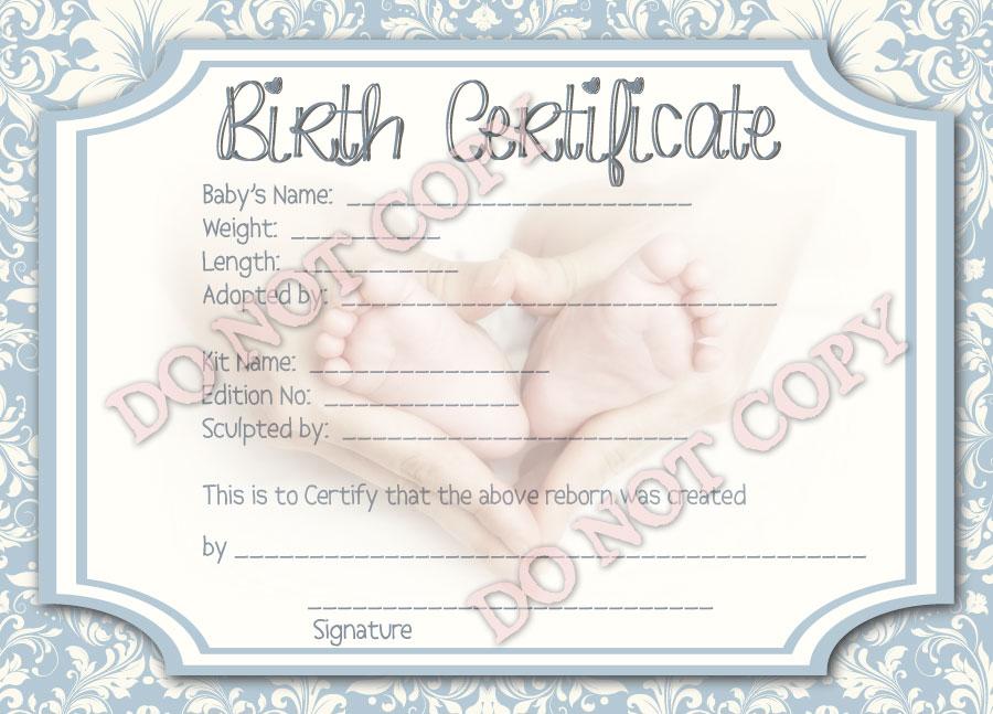 Reborn doll birth certificate boy damask with newborn feet for Doll birth certificate
