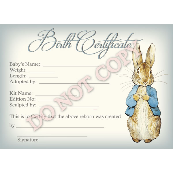 Reborn Doll Birth Certificate