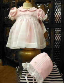 Pink & White Dress W/Bonnet by Will
