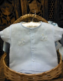 Blue Rocking Horse Diaper Set by Will