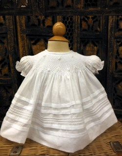 White Smocked Bishop Dress ~ Newborn