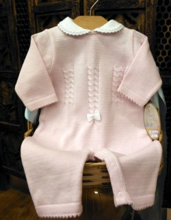 Baby Girl Pink Knit Coverall by Will