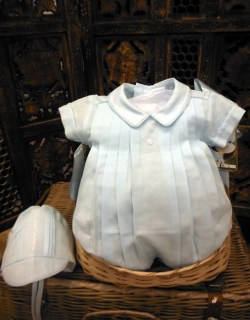Elegant Blue Pleated Boys Romper by Will