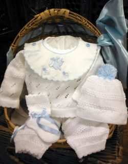 Blue and White Welcome Baby 4 Pc Knit Set ~ Newborn