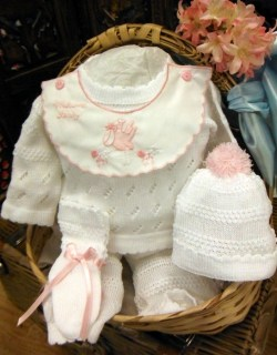 Pink and White Welcome Baby 4 Pc Knit Set ~ Newborn