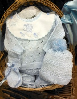 Blue Welcome Baby 4 Pc Knit Set ~ Newborn