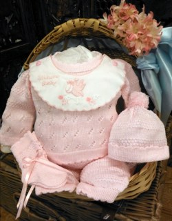 Pink Welcome Baby 4 Pc Knit Set ~ Newborn