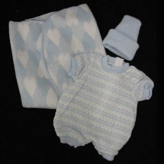 Blue Romper, Hat and Blue Hearts Blanket
