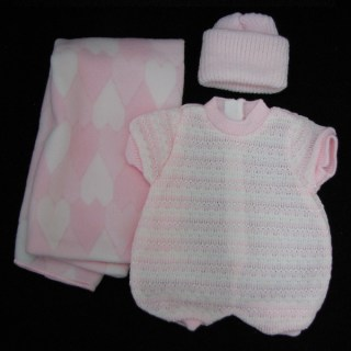 Pink Romper, Hat and Pink Hearts Blanket