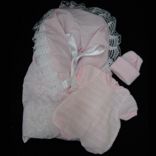 Preemie Pink Knitted Outfit with Sleeper Sack